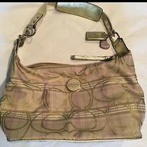 Coach F17209 Gold Purple Signature Stripe Plaid Handbag Purse & Storage Bag Photo