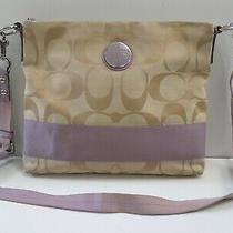 Coach F17435 Signature Stripe Crossbody Shoulder Handbag Purse Lavender Khaki Photo