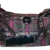 Coach  F17709 Monogram Tartan Plaid Hobo Purse  Shoulder Bag Photo
