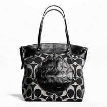 Coach F18335 Coach Laura Signature Tote Coach Purse Bag Black 298nwt Coach Tote Photo