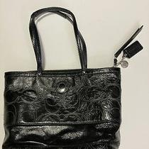 Coach F19198 Stitched Signature Black Patent Leather Tote Bag Purse Photo