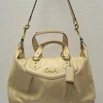 Coach F19247 Ashley Satchel Ivory Off White Leather Handbag Purse Photo