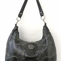Coach F19282 Signature Stitched Black Patent Leather Hobo Bag Purse Photo