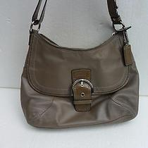 Coach F19580 Taupe Leather Soho Flap Bag With Patent Trim Shoulder Bag. Photo