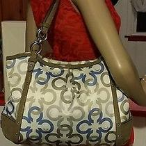 Coach F20806 Alexandra Chain Link Clove Taupe Sateen Tote Bag Purse Authentic Photo
