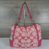 Coach F21919 Pink Canvas Leather Alexandra Signature Shoulder Bag Hobo Tote Photo