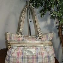 Coach F21956 Multi Color Daisy Signature Madras Tote Shoulder Bag Handbag Purse  Photo