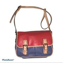 Coach F23383 Leather Bag Tricolor Red Blue Beiges Crossbody Authentic  Photo