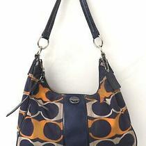 Coach F23936 Signature Navy & Orange Nylon Hobo Bag Purse Needs Cleaning Photo