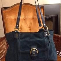 Coach (F24688) Campbell Teal Suede & Leather Tote Satchel Buckle Flap 378 Euc Photo
