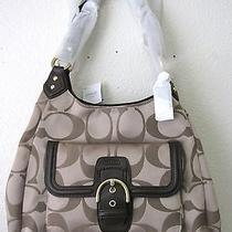 Coach F24742 Campbell Signature Hobo Khaki/mahogany Msrp 378 Nwt Photo