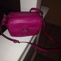 Coach  F25150 Campbell Leather Camera Bag Fuchsia/silver Nwt Photo