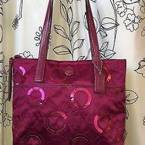 Coach F25470 Signature Sequin Tote Passion Berry Purple Medium Handbag Purse Bag Photo