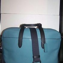 Coach F29034 Hamilton N Cyan Navy Pebble Leather Laptop Crossbody Bag Msrp 450 Photo