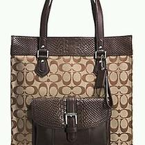 Coach F31945 Charlie Signature Python Embossed Tote Bag C Khaki/mahogany Silver Photo