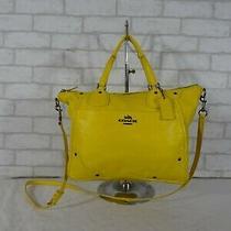 Coach F34040 Mickie Yellow Leather Satchel Shoulder Bag Handbag Purse Tote  Photo