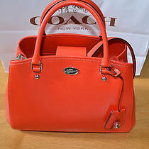 Coach F34607 Crossgrain Leather Small Margot Carryall Satchel Bag Orange 375  Photo