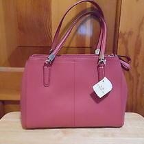 Coach F34673 Christie Handbag Cross Grain Leather Sunset Red - Nwt Photo