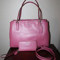 Coach F34673 Crossgrain Leather Christie Handbag Sunset Red Crossbody Wallet  Photo
