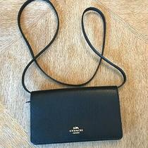 Coach F34828 Foldover Clutch Pebbled Leather Crossbody Women's Bag Photo