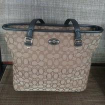 Coach F36185 Brown Outline Khaki Signature Zip Top Tote Shoulder Bag Photo