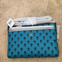 Coach F38159 Crossbody With Pouch Badlands Floral Print Canvas Turquoise Sale Photo