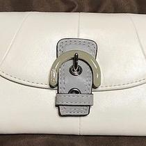 Coach F45641 Soho Leather Rare White/gray Clutch New Photo