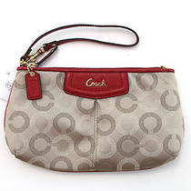 Coach F48053 Ashley Dotted Op Art Large Wristlet Clutch Khaki/cherry New W Tag Photo