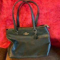 Coach F48637 Ivy Dark Green Pebbled Leather Bay Tote Bag Zip Top Pre-Owned Photo
