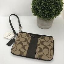 Coach F51158 Signature Stripe Jacquard Leather Wristlet Clutch Wallet Pouch Nwt Photo