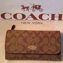 Coach F52681 Signature Coated Canvas Checkbook Wallet Nwt W/gift Box Photo