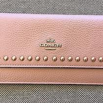 Coach F53449 Lacquer Rivets Pebble Leather Soft Wallet Blush and Silver Nwt Photo