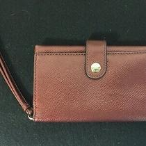 Coach F53977 Phone Clutch Wristlet Metallic Cherry Crossgrain Leather New No Tag Photo