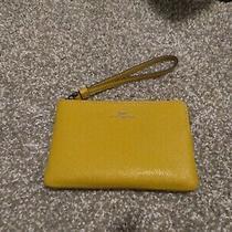 Coach F58032 Corner Zip Wristlet Crossgrain Leather Flax (Yellow) Wallet Photo