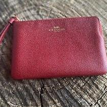 Coach F58032 True Red Crossgrain Leather Corner Zip Wristlet Wallet Nwt Photo