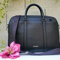 Coach F59057 Perry Slim Briefcase Laptop Messenger Bag Black Satchel Tote Work  Photo
