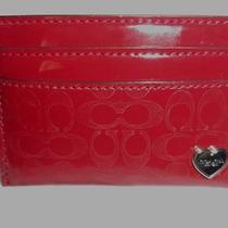 Coach F62405 Embossed Liquid Gloss Card Case Red- Nwt & Gift Receipt Rv 58 Photo