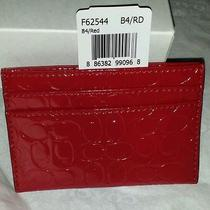 Coach F62544 Embossed Signature Red Gloss Card Case Wallet Nwt With Gift Box New Photo