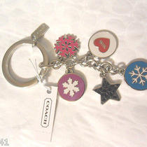Coach F62725 Snowflake Multi Mix Key Ring Fob -Multicolor-  Msrp 58   Photo
