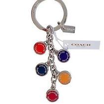 Coach F63982 Button Disc Multi Color Mix Key Fob Chain Ring Nwt Multi Color Photo