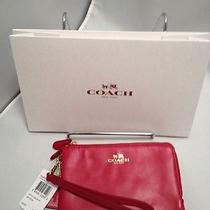 Coach F64581 Smooth Leather Double Corner Zip Wristlet Red W/gift Box & Tissue Photo
