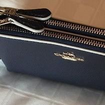 Coach F65755 - Double Corner Zip Wristlet in Edgepaint Crossgrain Leather Nwt Photo