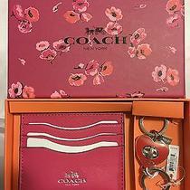 Coach F66088 Hot Pink Card Case & Red Heart Key Chain Box Set Photo