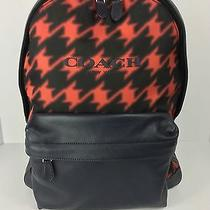 Coach F71755 Campus Backpack Book Bag Men's Leather Red Houndstooth Nwt Photo