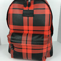Coach F71821 Campus Laptop Backpack Book Bag Men's Leather Red Black Print Nwt Photo
