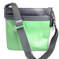 Coach F71842 Bowery Black/green Leather Crossbody Messenger Bag Photo