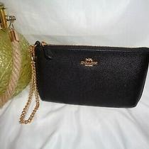 Coach F73044 Crossgrain Leather Wristlet Chain Clutch Black Leather Wallet Handb Photo