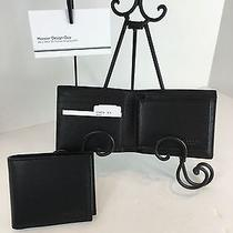 Coach F74974 Compact Id Wallet Men's Crossgrain Leather Black Nwt Photo
