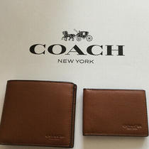 Coach F74991 Men's Compact Id Sport Calf Leather Wallet Saddle W/gift Box Nwt Photo