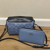 Coach F76629 Bennett Crossbody Handbag Bag - Black/blue With Matching Wallet Photo